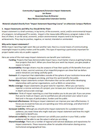Extension Impact Statements Template