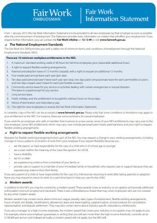 Fair Work Information Statement