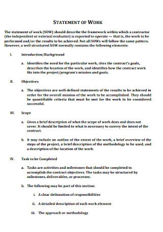 Formal Work Statyement Template