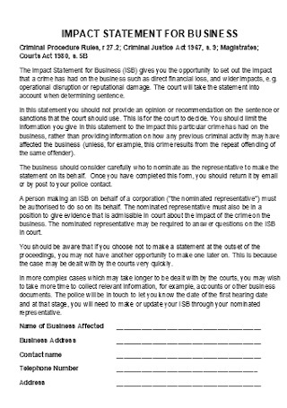 Impact Statement for Business Template