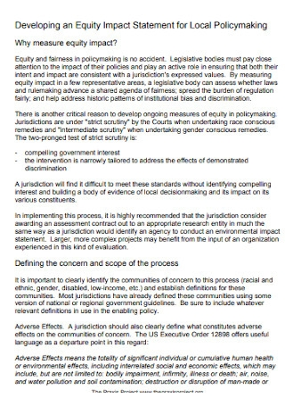 Impact Statement for Local Policy Template