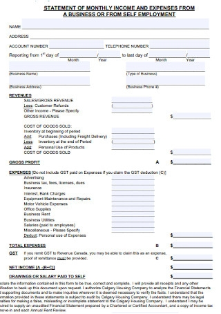 Income and Expense Statement Form