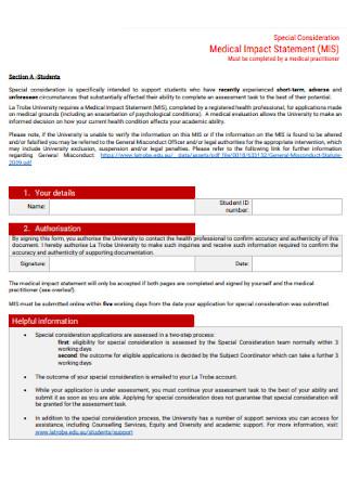 Medical Impact Statement