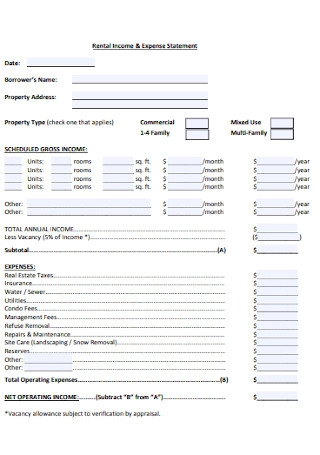 Rental Income Expense Statement