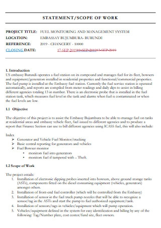 Sample Scope Work Statement Template