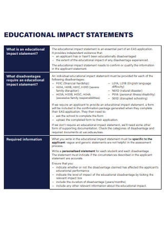 School Educational Impact Statement