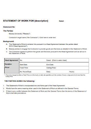 University Work Statement Template