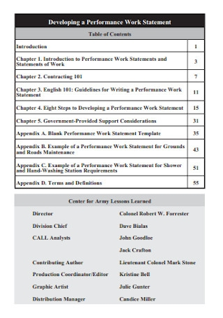 Work Performance Statement