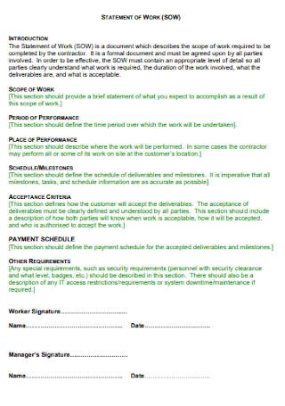 Work Statement Format