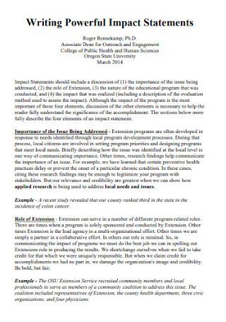 Writing Powerful Impact Statements