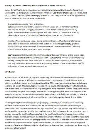 Academic Teaching Philosophy Statement