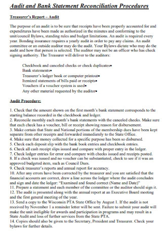 Audit and Bank Statement Reconciliation Template