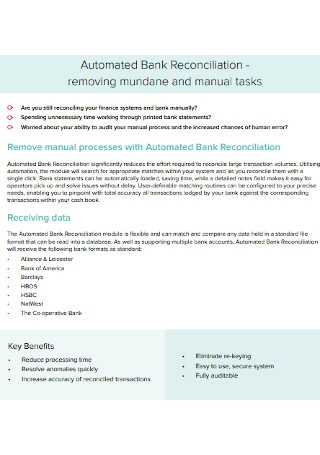 Automated Bank Reconciliation Statement