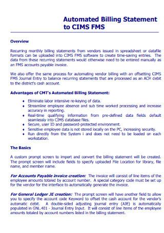 Automated Billing Statement
