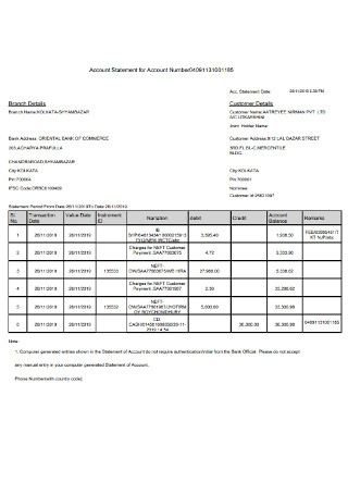Bank Account Statement Template