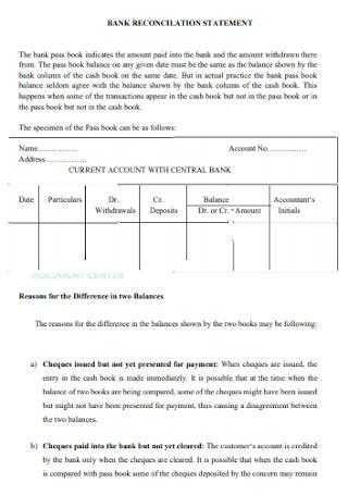 Basic Bank Reconciliation Statement