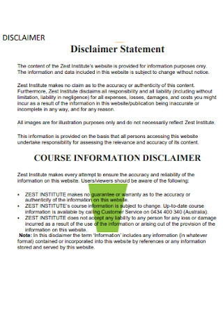 Basic Disclaimer Statement Template