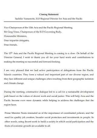 Basic Meeting Closing Statement