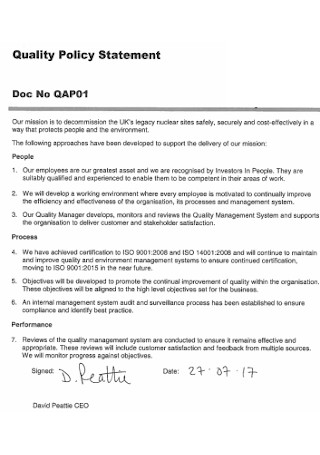 Basic Quality Policy Statement