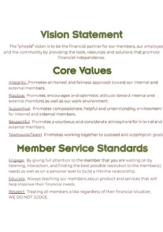 Basic Vision Statement Example