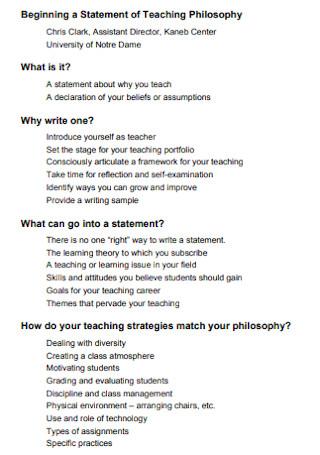 Beginning a Statement of Teaching Philosophy