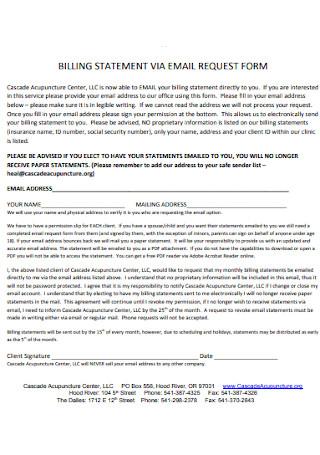 Billing Statement Request Form