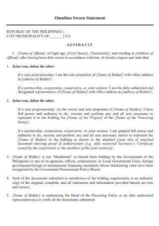 Bus Sworn Statement Template