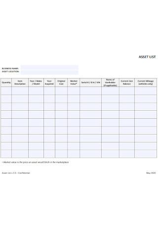 Business Asset List Template