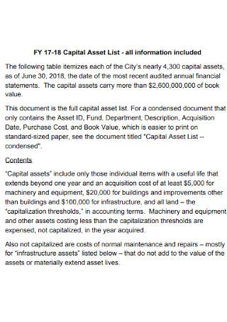 Capital Asset List
