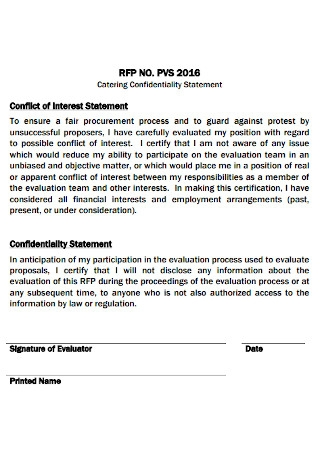 Catering Confidentiality Statement