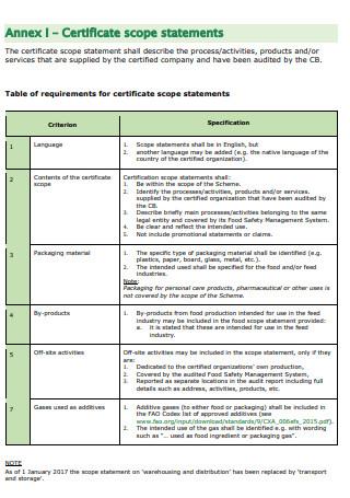 Certificate Scope Statement