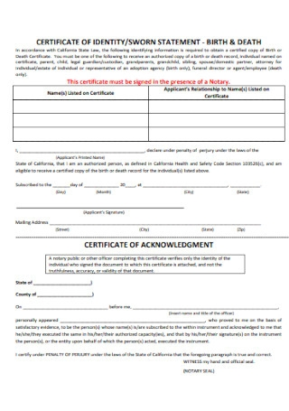 Certificate of Identity and Sworn Statement
