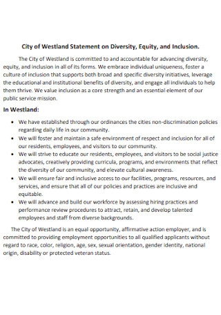 City of Statement on Diversity Template
