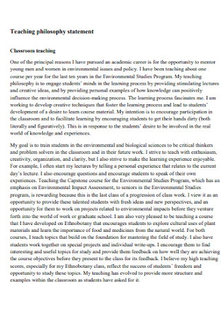 Classroom Teaching philosophy statement