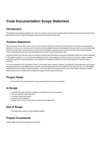 Code Documentation Scope Statement