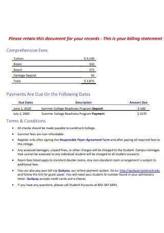 College Billing Statement