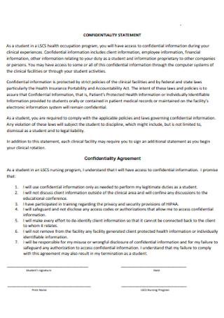 College Confidentiality Statement