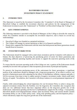 College investment Policy Statement