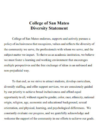 College of Diversity Statement Template