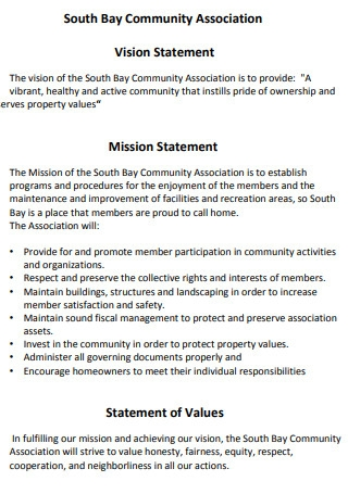 Community Association Vision Statement