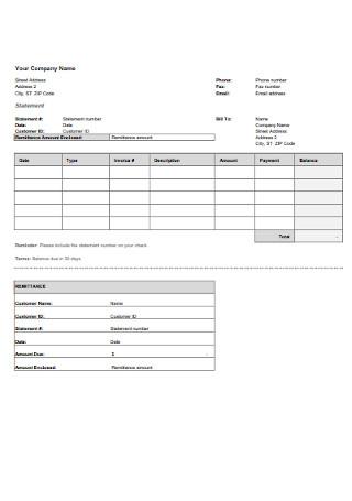Company Billing Statement Template
