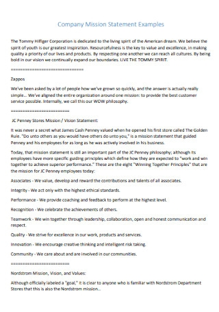 Company Mission Statement Examples