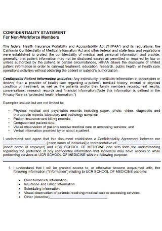 Confidentiality Statement For Non Workforce Members
