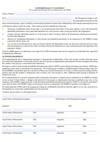 Confidentiality Statement Form