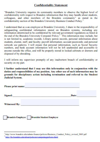 Confidentiality Statement Format