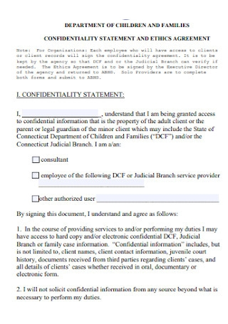 Confidentiality Statement and Ethics Agreement