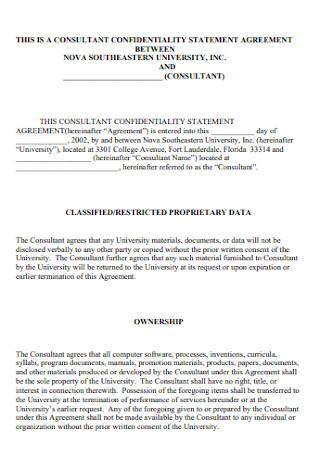 Consultant Confidentiality Statement