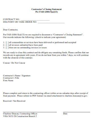 Contractors Closing Statement
