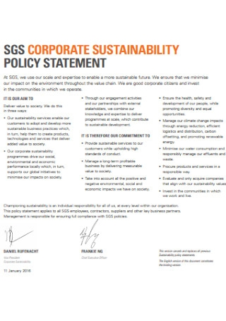 Corporate Sustainability Policy Statement