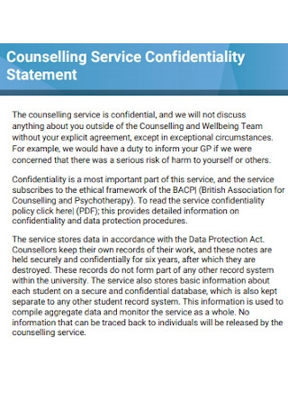 Counselling Service Confidentiality Statement